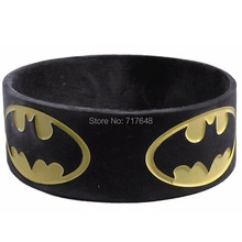 300pcs One inch Debossed color filled BATMAN Repeat Logo wristband silicone bracelets free shipping by FEDEX express