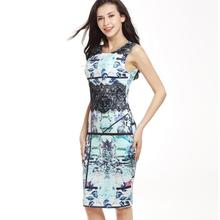 Womens Slim Work Business Evening Elegant Lace Flower Casual Party Bodycon Dress tank Round neck Graffiti vest dress pencil(China)
