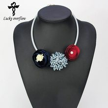 Handmade Red Grey Blue Fabric Flower Choker Necklace Fashion Indian Jewelry 2017 Hot Pendant Girl Woman Accessories Xmas Gift(China)