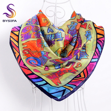 Cartoon Cat Square Scarves Ladies Red Blue 100% Mulberry Silk Scarf Shawl 90*90cm Spring Autumn Fashion Brand Silk Head Scarf