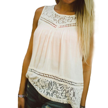 Top! Free Shipping!!! 2016 New Design Best Deal Sexy Women Girl High Quality Casual Summer Lace Splice Sleeveless Tops Shirt