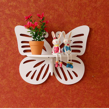 NEW Butterfly Wooden Hook Clapboard Shelf Wall Rack Home Decorative Furniture Wall Shelves For Living Room Holder Bathroom Shelf