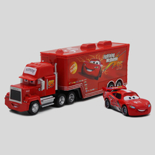 2Pcs/Set Pixar Cars Mack Uncle No.95 Trunk +Small Car Lightning McQueen Diecast Toy Car 1:55 Loose Brand New For Kid toys