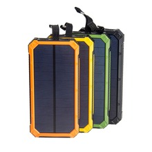 Tollcuudda Portable Solar Power Bank Dual USB Power Bank 10000mAh waterproof external Solar Panel powerbank with LED light(China)