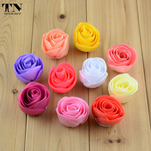 "60PC 1.55"" Chiffon Fabric Flowers Rose Bud Solid Floral For Baby Girls Headband Kids DIY Hair Accessories Women Headwear 61B201"