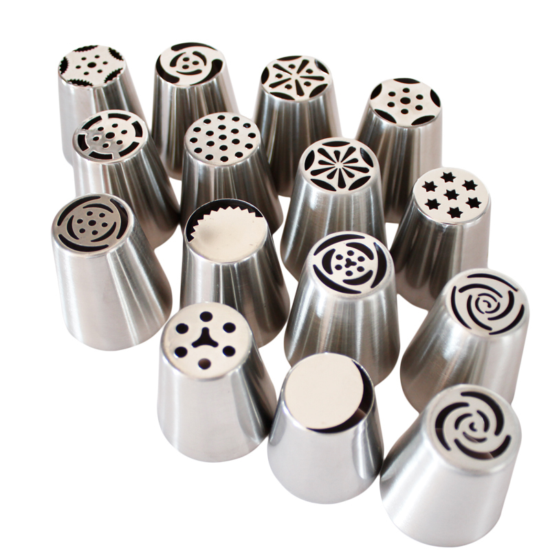 15pcs Russian Pastry Nozzles Professional Cake Decorators Piping Tips For Kitchen Baking Diy Cupcake Decorating Mouth