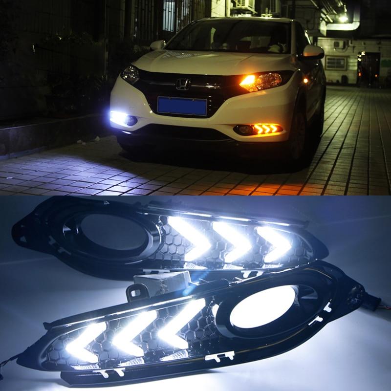 Hireno Super-bright LED Daytime Running Light for Honda Vezel HRV HR-V 2014-16 LED Car DRL fog lamp 2PCS<br><br>Aliexpress
