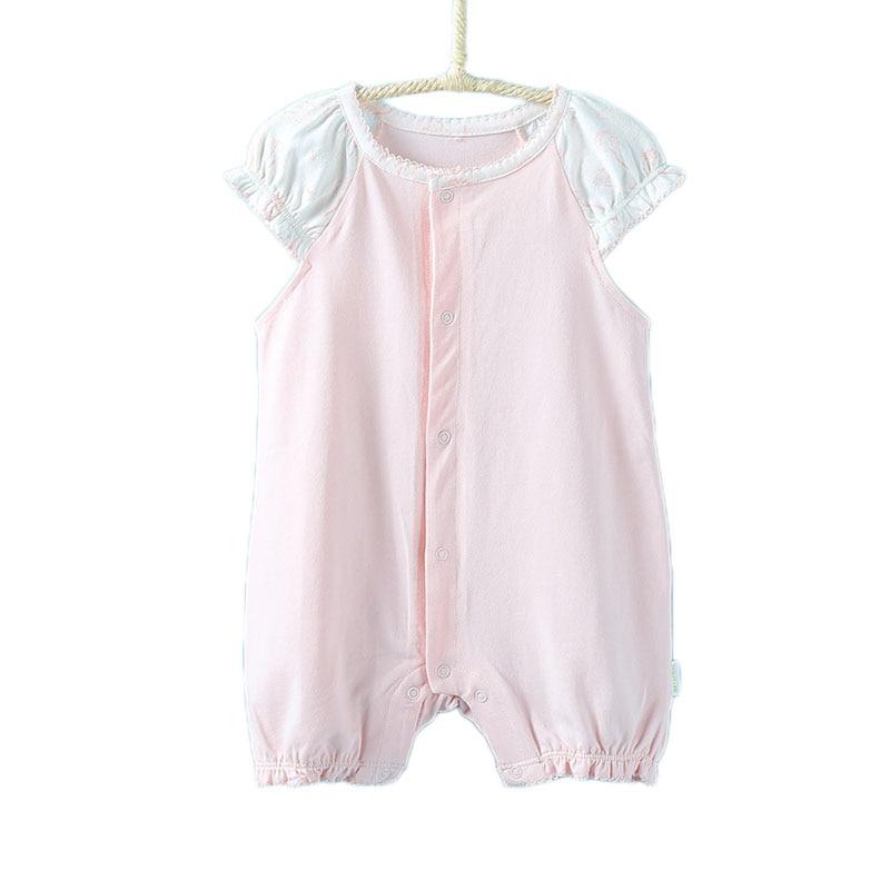 Newborn Baby Girl Spring Summer 2017 Short Sleeve Rompers Cotton Pink Overalls Toddler Baby Girls Print Onesie Jumpsuit Costumes<br><br>Aliexpress