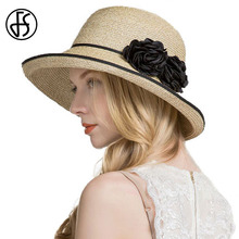 FS Womens Straw Hats Wide Brim Summer Foldable Hat Floppy Beach Hats For Women Fashion Roll Up Sun Sombreros Flower Cappello(China)