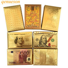 High Quality Gold Foil Plated Baccarat Texas Hold'em Plastic Playing Cards Waterproof Poker Cards Board Games 10 Colors qenueson(China)