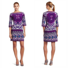 The new dress Italian fashion beautiful purple printing knitted elastic slim dress