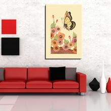 Butterfly Flower Traditional Chinese Oil painting Unframed Canvas Frameless Spray gemstone figure wine
