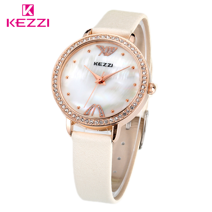 KEZZI Brand New Women Watches Lady Fashion Rhinestone Wristwatch,Relogios Feminino Girls Leather Strap Waterproof Quartz Clocks<br><br>Aliexpress