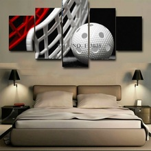 High Quality New Fashion Football Printed 5 Panels Canvas Painting Living Room Beautiful Wall Pictures Free Shipping