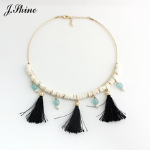 JShine European & American Choker Shell Black Tassel Pendant Torque Necklaces & Pendants Ethnic Colliers Necklace Meus Pedidos