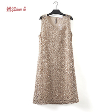 dower me drop shipping plus size stretchable women sequin sleeveless dress casual dresses party evening elegant vestidos de fest(China)
