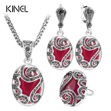 Kinel Unique 3pcs Vintage Jewelry Sets Fashion Red Female Earrings And Pendant Necklace Wedding Party Bridesmaid Gift