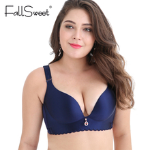 FallSweet Unlined Wire Free Big Size Bras No Rims Seamless Brassiere for Plus Size Womens C D DD cups 44 46 48 50(China)