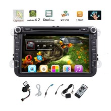 Pure 2DIN Android 4.2 Car CD/DVD Player for Volkswagen 8'' Steering Wheel Control Canbus GPS Car Stereo WIFI Car Radio BT VW aux(China)