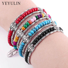 Trendy Bohemian Silver Color Alloy Feather Charms 55mm Plastic Beads Bracelet For Women Bangles Jewelry