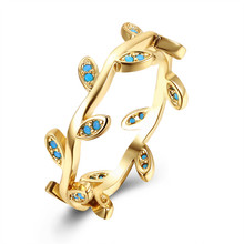 2017 New Fashion Gold Ring Female Tree Rattan Simple Kallaite Bead Turquoises Crystal Ring For Women Girl Gifts Vintage Jewelry
