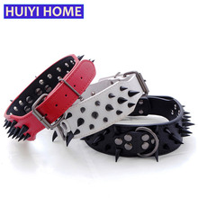 Huiyi Home Dog Spiked Collar 3 Colors Wide PU Leather Collars Pet Supplies For Large Dogs Pets Accessories ENA065