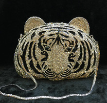 Rhinestone Evening Clutch Bag Metal tiger head Handle Bag Bridal Wedding Purse & Handbag Day Clutches crossbody shoulder bags