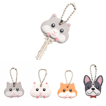 Cartoon Animal Pattern Keys Cover Cute Mouse Bulldog PVC Key Covers Caps