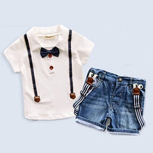 2017 Summer Baby Clothing Set 2 Pieces Gentleman Design Costumes Children's T-shirt + Jeans Suits Kids Boys Clothes Sets