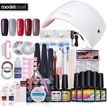 Modelones Full Set Nail Tools Soak Off 5 Color UV Neon Gel Polish Nail Art Manicure Kit 24W UV Lamp Base Gel Top Coat Nail Tools(China)