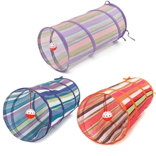 3 Colors Cat Tunnel Animal Play Toy Cat Training Collapsible Bulk Funny Cat Toys Product With Ball 60cm Long High Quality(China)