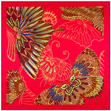 100cm * 100cm Bright red feathers and butterflies Women 's silk twill scarves 2017 warm bufanda stoles, shawls, scarf women A222