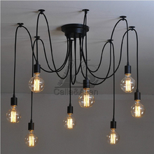 Free ship 6-8-10 arms Fairy Scattering Flowers pendant lamp bakelite holders PVC Ceiling Spider Lamp Light E27 Retro Chandelier
