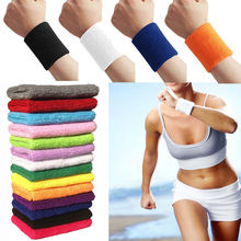 Unisex Sports Cotton Wristband Wrist Band Sweat Band Sweatband Wrist Support 12colors Free Shipping(China)