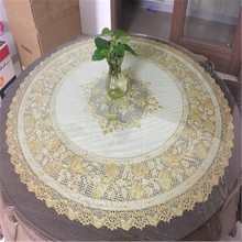 Free Shipping diameter 90 cm round table Golden colour Cheap PVC tablecloth water oil proof(China)