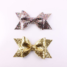 Boutique Baby Girl Hairbow Hairpins Fashion Glitter Leather Bow Hair Clips For Kids Best Gift For Children Hair Headwear 10pcs