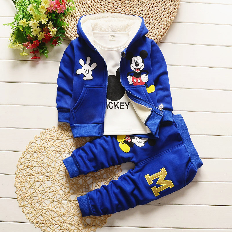 Free shipping! 2017 new thicken winter children cotton 3 Piece Sets Mickey Hooded Coat Suits baby boys clothing set 1-4Y<br>