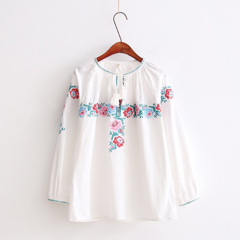 OLGITUM 2017 Style Blouse Women White Elegant Flower Embroidery Blouse Long Sleeve O-Neck Women Tops Blusas Loose Shirt TT255