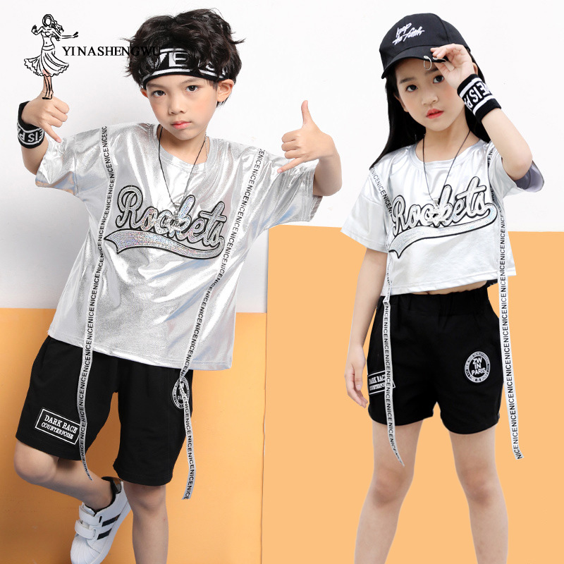 Jazz Dance Costumes for Girl Boy Street Dance Clothes Practice Set Performance Sequins Costume Female