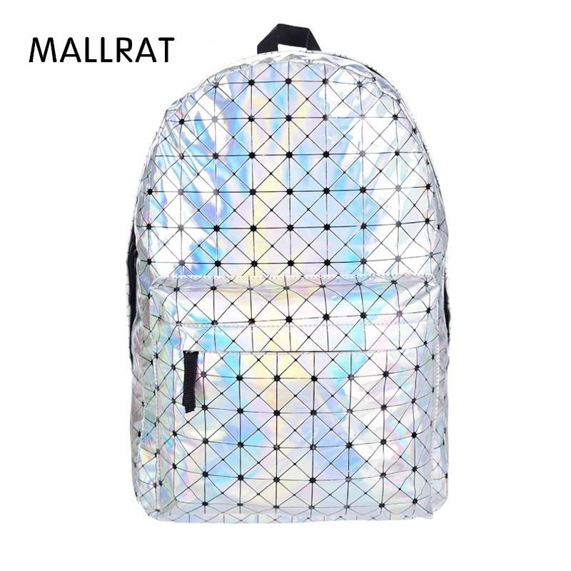 MALLRAT Stylish Backpack Women Silver Hologram Laser Backpack Men's Bag Leather Holographic Multicolor Geometric Backpack