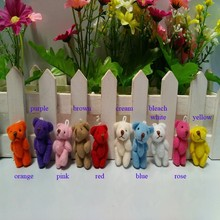 300pcs/lot, free shipping wholesale 3.5CM small size cheap mini bear jointed plush stuffed doll bouquet toy 10 colors to choose(China)