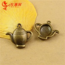 20*22MM Antique Bronze Retro teapot charm pendant beads mobile phone DIY accessories, chandelier for the kitchen, discount charm