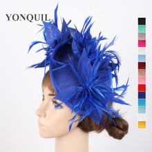 16 Colors or Royal blue women fascinators hats sposa party wedding hats floral fascinator with feathers headbands accessories(China)
