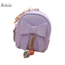 Women Bow Zipper Key Bag Short Women Wallet Small Coin Purse Billeteras Para Mujer Carteira Mini Card Holders Handbag Girls(China)