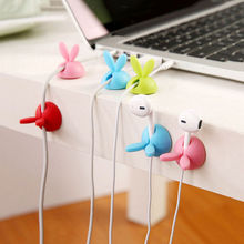 Plastic 4Pcs/lot Lovely Desk Tidy Organiser Line Wire USB Charger Cable Holder Cord Clips Fixer Accessories Rabbit Shape
