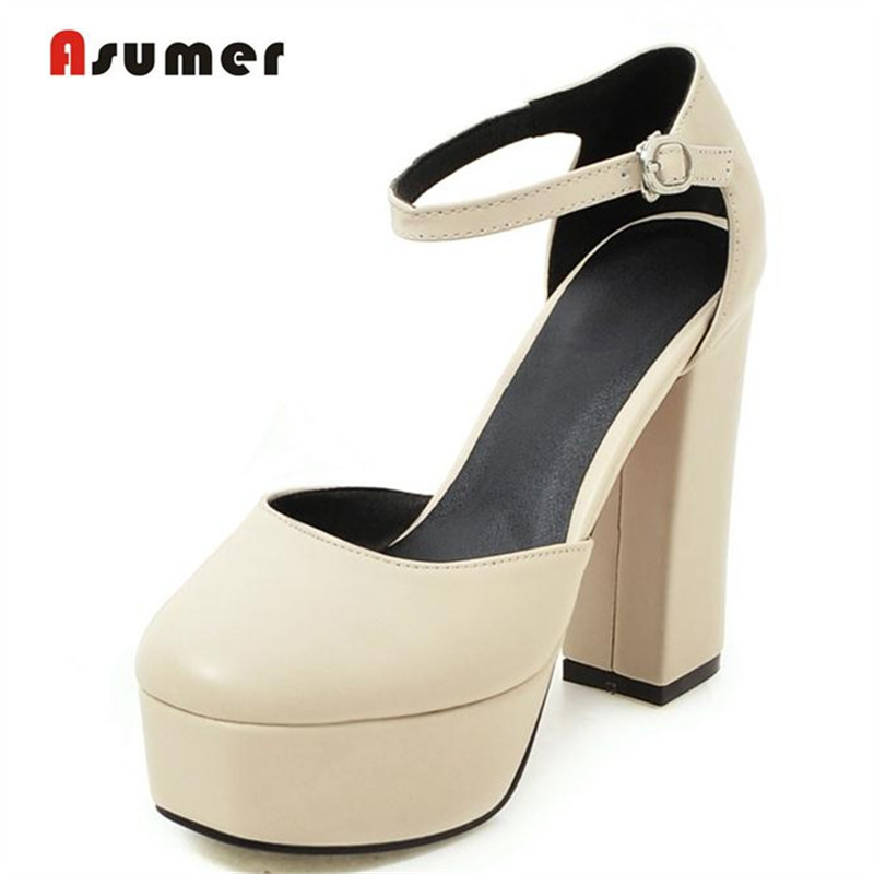 Asumer Square toe shallow summer shoes women sandals platform buckle solid pu party shoes contracted high heels 12cm<br>