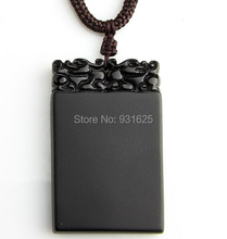 Wholesale Natural Black Obsidian Carved Dragon Head Safety Pendant Lucky Pendants Beads Necklace fashion Pendant Jewelry