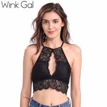 Buy Wink Gal Sexy Crop Top Embroidery Lace Halter Shoulder Top Lace Mesh semi-sheer Bralette sleeveless Women Bra W12199