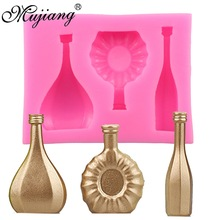 Mujiang European Wine Bottle Glass Silicone Molds Soap Clay Molds Fondant Cake Decorating Tools Gumpaste Chocolate Candy Moulds