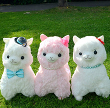 Japanese Alpacasso 45cm Beads String Ribbon Kawaii Alpaca Plush Soft Doll Animal Stuffed Toy For Girls Kids Lover Best Gift